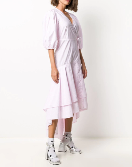 Ganni Ruffle Hem Wrap Dress - Cherry Blossom