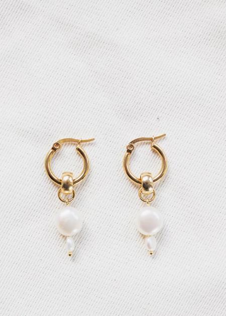 Yam Pearl Drop Hoop Earrings