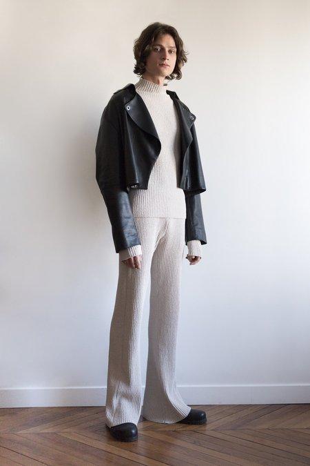 LUDOVIC DE SAINT SERNIN Lamb Leather Cropped Biker Jacket - Black