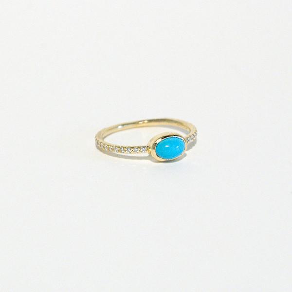 Mociun Turquoise and Diamond Ring