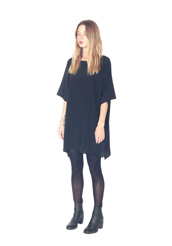 Strathcona Black Silk Tunic Dress