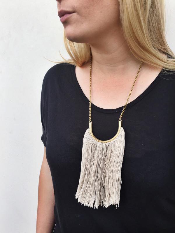 Erin Considine Brass Lunate Chain Necklace with Black Silk Noil