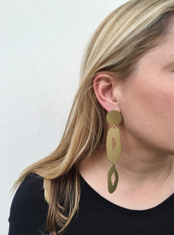 Modern Weaving Oval Stack Earrings in Brass