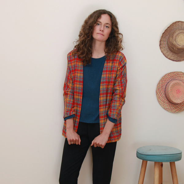 Me & Arrow Cardi Jacket - Fuzzy Red Plaid
