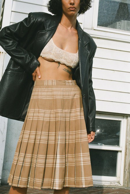 Vintage Pendleton Plaid Pleated Midi Skirt