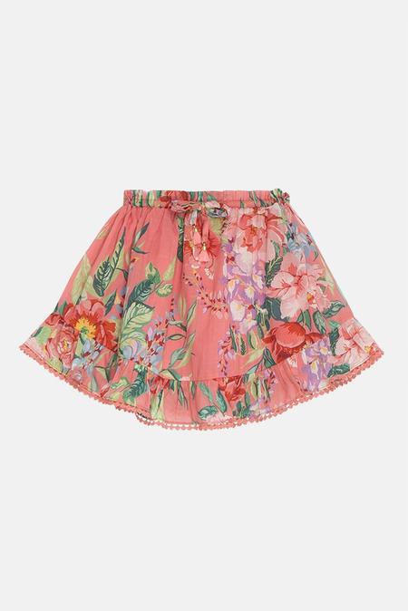 kids Zimmermann Bellitude Flounce Skirt - Watermelon Floral