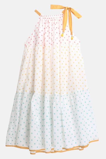kids Zimmermann Bellitude Halter Tiered Dress - multi dot