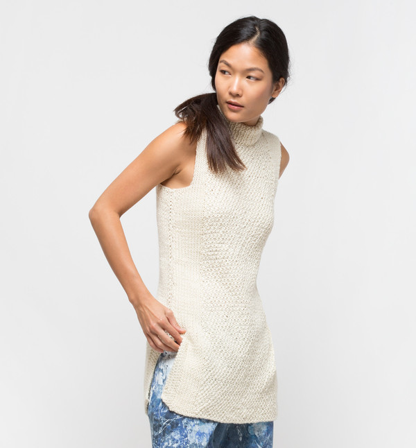 VOZ Textured Mock Neck Ivory