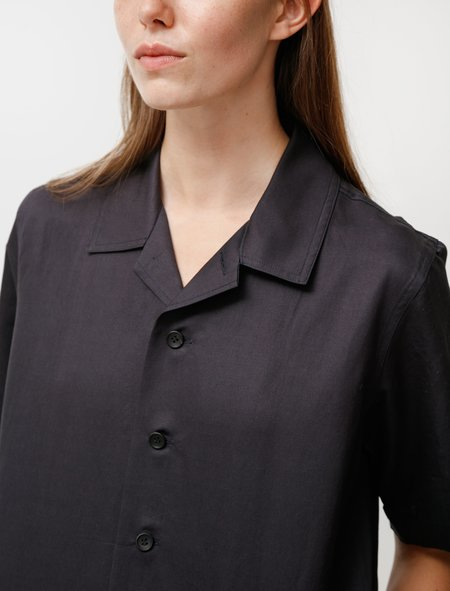 niuhans Oversized Short Sleeve Shirt in Cotton Linen Silk - Navy
