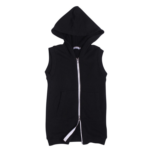 Kid's Mimobee Rocky Sleeveless Long Hoodie - Black