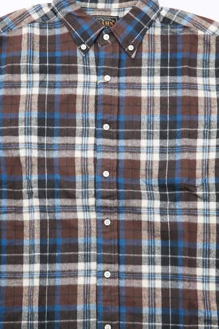 Beams Plus B.D. Shaggy Check 30/2 Shirt - Brown