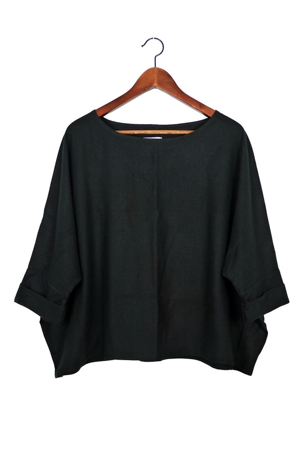 Jamie + The Jones T Top, Black Raw Silk