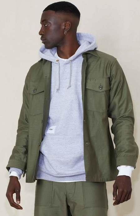 WTAPS WMILL 02 Cotton Satin Long Sleeve Shirt - OLIVE DRAB