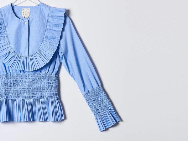 Trademark Pleated Blue Smocked Poplin Shirt