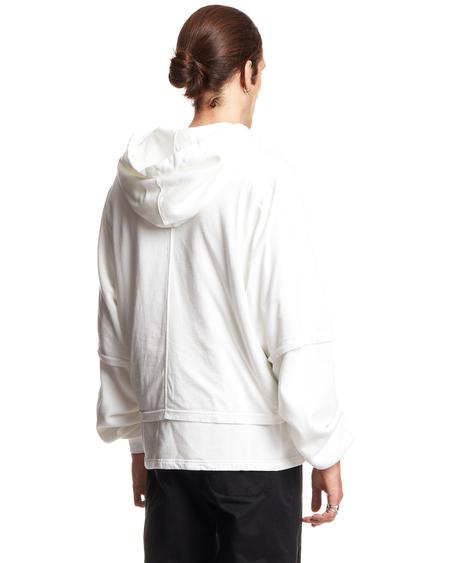 Rick Owens DRKSHDW Cropped Hustler Hoodie Sweatshirt - White