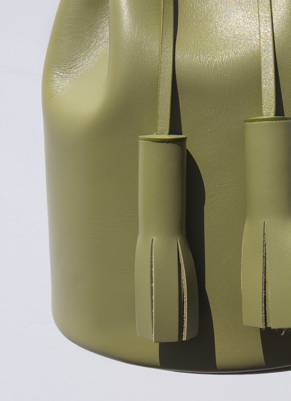 Building Block Smooth Leather Bucket Bag - Olive
