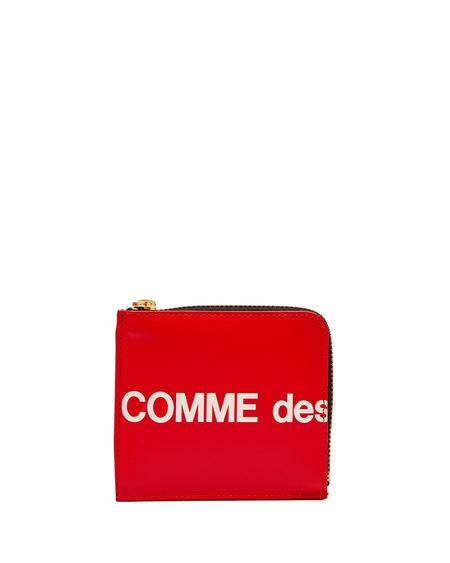 Comme des Garçons Leather Logo Wallet - Red
