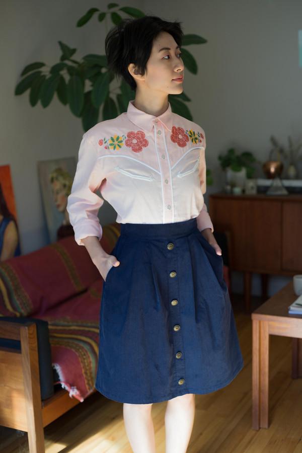 Birds of North America Toucanet Skirt (Navy)