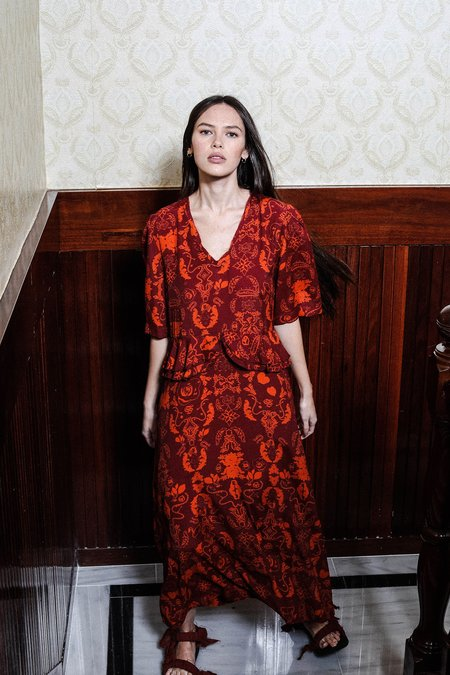 Salasai Audrey Dress - Wallpaper Tan Print