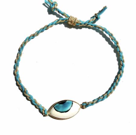 Wink Design Ceramic & Rope Evil Eye Bracelet - Turquoise/Tan