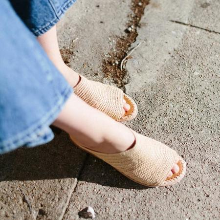 Proud Mary Footwear Open-Toe Raffia Slide - Natural