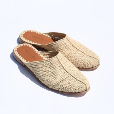 Proud Mary Footwear Raffia Closed-Toe Slide - Natural