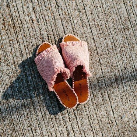 Proud Mary Footwear Raffia Fringe Slide - Apricot
