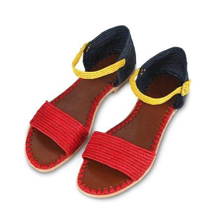Proud Mary Footwear Raffia Sandal - Red/Blue/Yellow