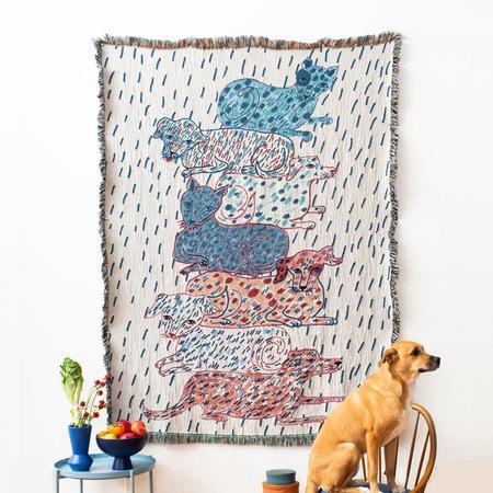 Olivia Wendel Sprinkled Dogs and Cats Totem Blanket