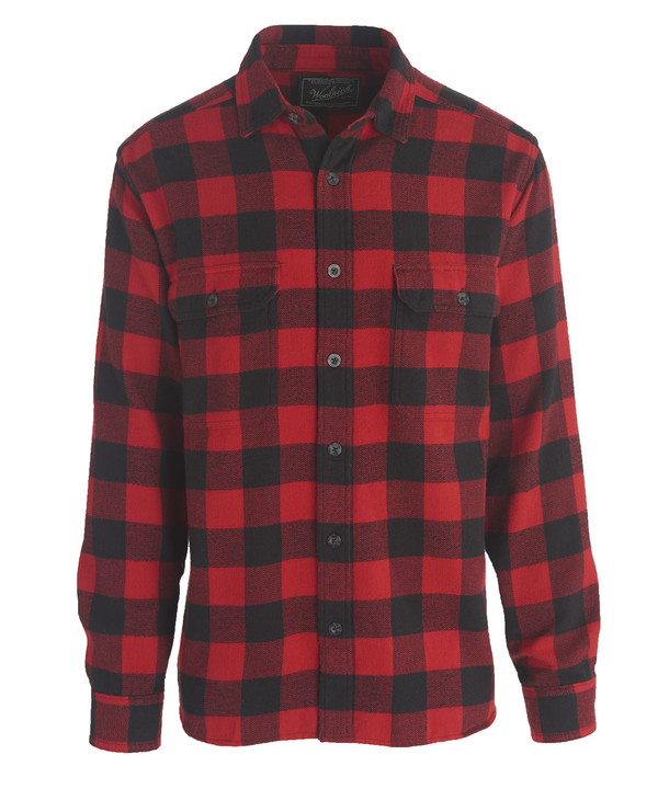 Men's Woolrich Oxbow Bend Plaid Flannel Shirt - Old Red Buffalo