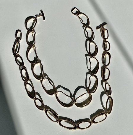 Modern Weaving Hand Formed Mini Oval Link Chain Necklace - 14K Gold Vermeil
