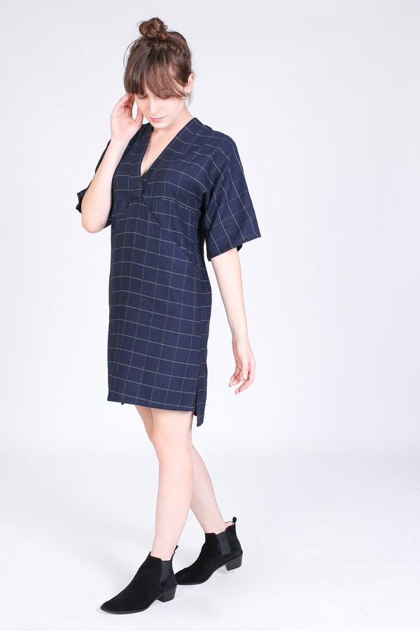 SBJ Austin Kelly dress in navy windowpane