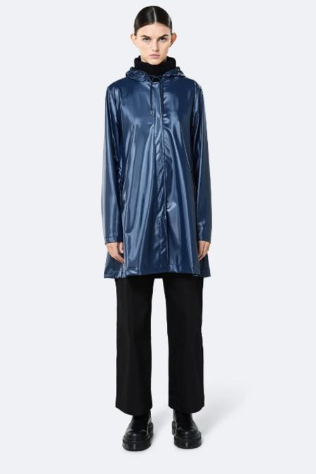 Rains Shiny Blue A-Line Jacket - Blue