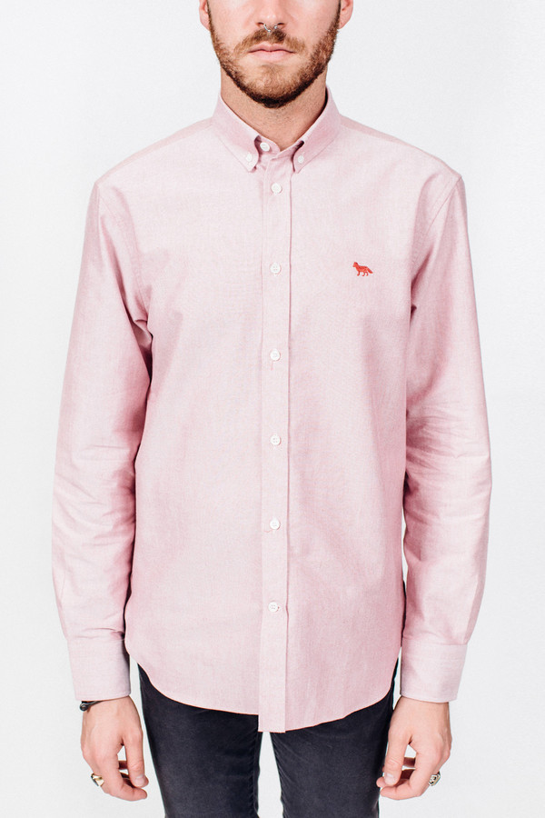 Men's Maison Kitsune Oxford Embroidery Classic Shirt Red
