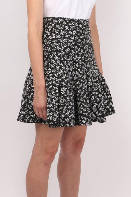 Carven Printed Jacquard Skirt - White Floral Print