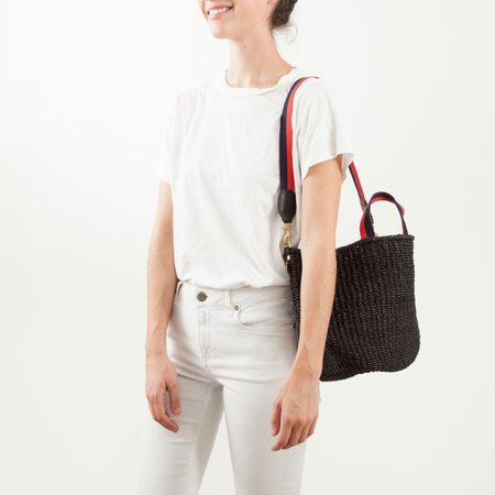Clare V. Shoulder Strap - Navy/Red Mini