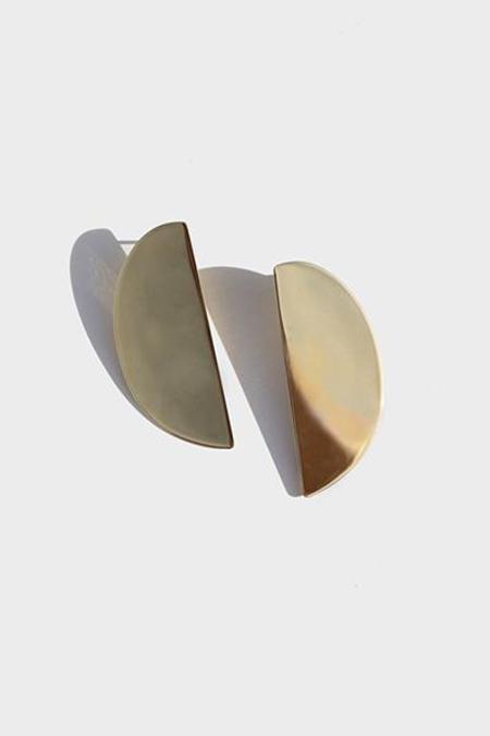 Modern Weaving Lunula Earrings - Brass