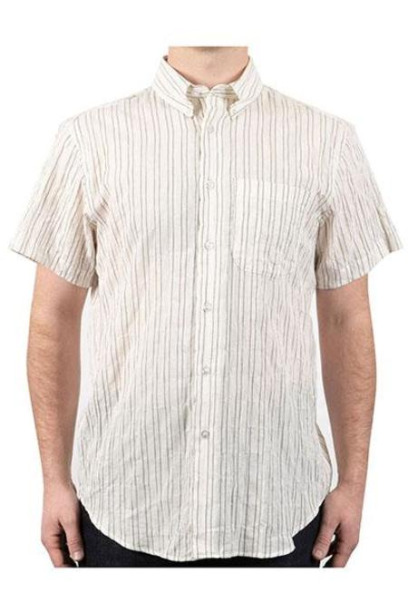 Naked & Famous Short Sleeve Easy Shirt - Standard Stripe Ecru