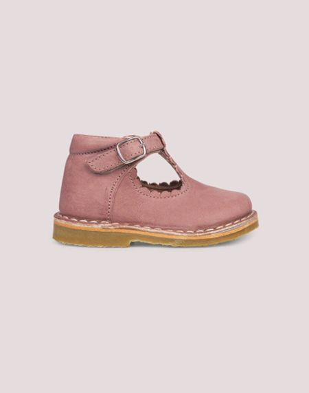Kids Petit Nord T-Bar Scallop Shoes - Old Rose