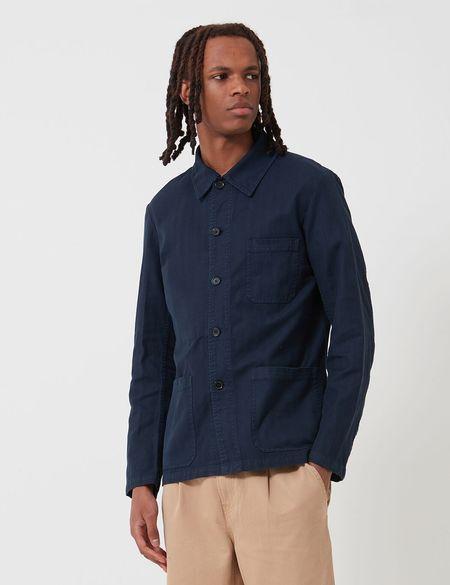Vetra French Workwear Herringbone Cotton Jacket - Navy Blue