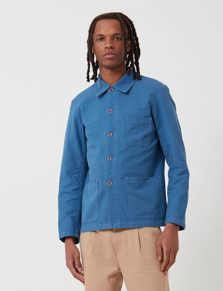 Vetra French Workwear Cotton Drill Short Jacket - Waid Blue