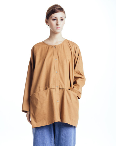 Revisited Matters Cropped Raincoat Top in Clay