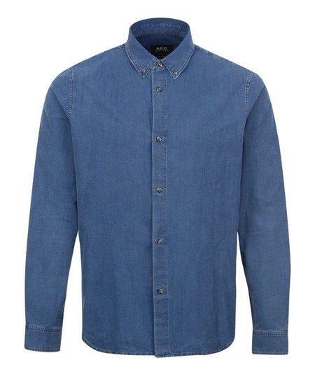 A.P.C. Button Down Denim Shirt - Blue