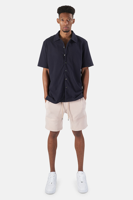 Wheelers.V Short Sleeve Pique Shirt - Newport Navy