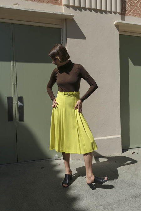 Maryam Nassir Zadeh Renata Pleated Skirt in Acid