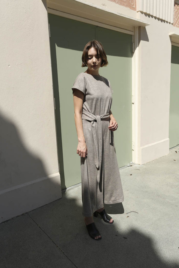 No.6 Winona Wrap Back Jumpsuit in Oatmeal Double Knit