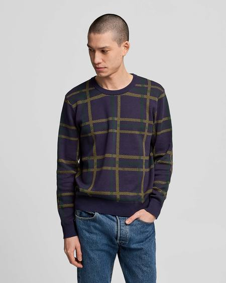 Poplin & Co. Crew Neck Jacquard Knit Sweater With Highland Plaid Pattern - Multicolor