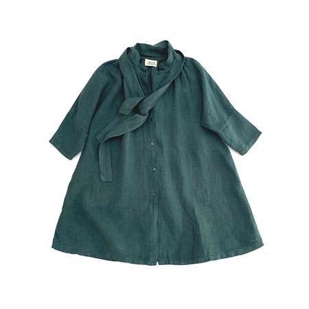 Kids Long Live the Queen Linen Dress - Pine
