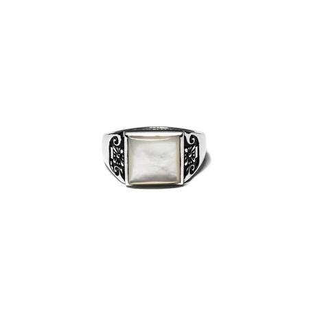 MAPLE Collegiate Ring - Silver/Mother of Pearl