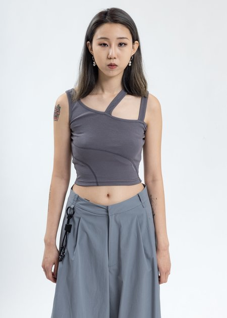 C2H4 Asymmetrical Tank Top - Grey